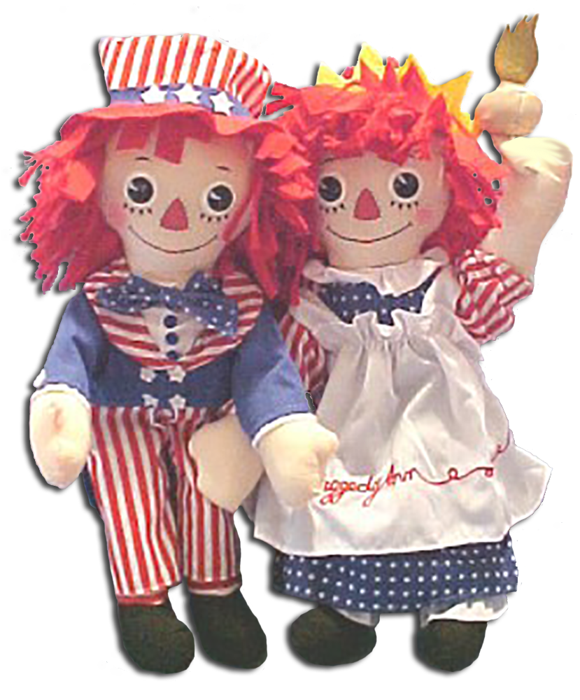 cuddly collectibles god bless america patriotic raggedy ann and andy