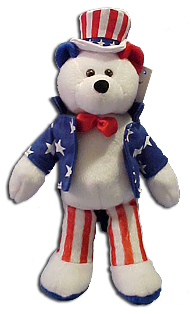 Flags, the Statue of Liberty and more Patriotic Merchandise.  All geared to the spirit to Stand United. God Bless America is the song, here are the bears and more!