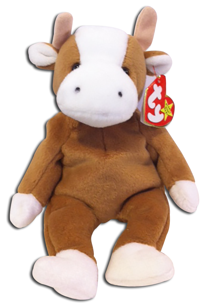TY Beanie Babies Bessie the Brown and White Cow Stuffed Animal - DOB 6 27 289b2cb3d80