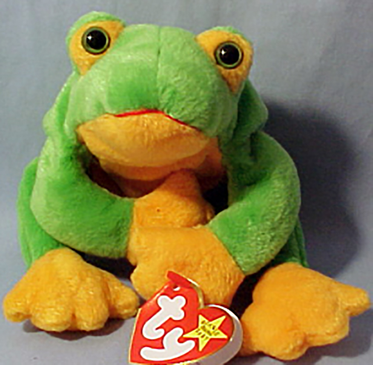 TY Beanie Babies Smoochy the Frog Stuffed Animal - (mouth is red thread) - 861f053e418
