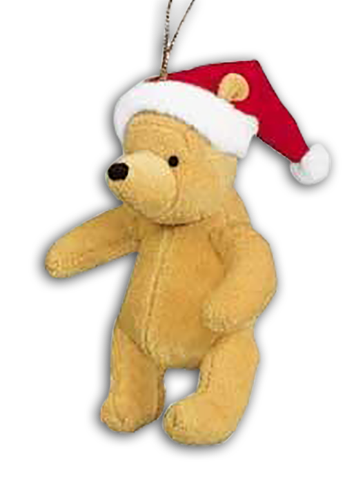 winnie the pooh with santa hat plush christmas ornament - Winnie The Pooh Christmas Decorations